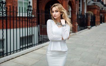 girl, blonde, the city, look, model, hair, face, in white