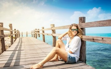 girl, blonde, glasses, the fence, pier, sitting, shorts, blouse, barefoot