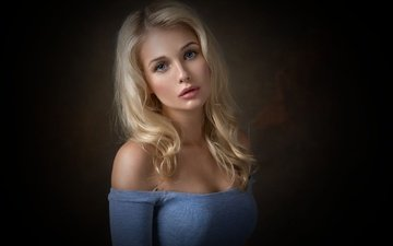 girl, blonde, portrait, look, model, photoshoot, long hair, dennis drozhzhin