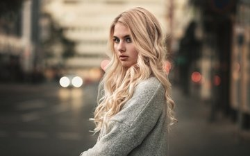 girl, blonde, look, curls, long hair, martin kuhn, jellina