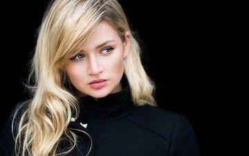 глаза, девушка, блондинка, портрет, модель, черный фон, gina, stefan klauke