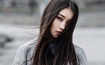 девушка, брюнетка, взгляд, волосы, лицо, азиатка, пирсинг