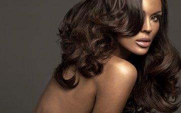 girl, portrait, brunette, look, model, face, makeup, long hair