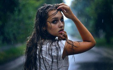 girl, portrait, brunette, look, model, rain, face, photoshoot, long hair