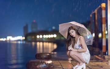 girl, the city, look, promenade, rain, hair, umbrella, face