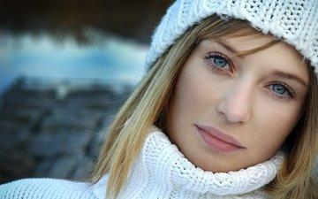 girl, portrait, model, face, hat, blue eyes