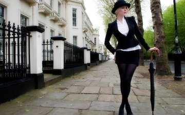 girl, london, the city, tights, street, model, feet, hat, the sidewalk, is, photoshoot
