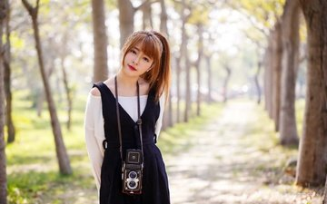 girl, look, hair, face, camera, makeup, asian