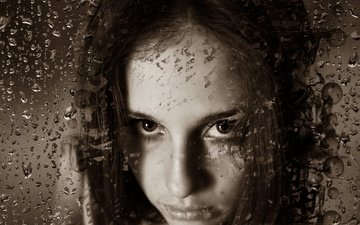 girl, drops, look, sepia, rain, hair, face, glass
