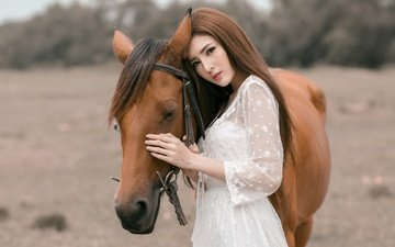 horse, girl, look, hair, face, mane, asian, white dress
