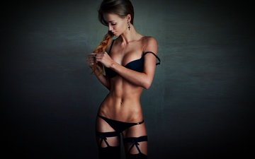 girl, braid, bra, thong, cross, beautiful, tummy
