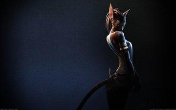 девушка, фон, кошка, ушки, хвост, ferre, archeage online, ферри