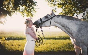 лошадь, деревья, девушка, платье, блондинка, лето, конь, грива, венок