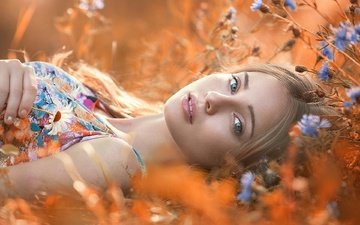 девушка, лето, взгляд, модель, лицо, полевые цветы