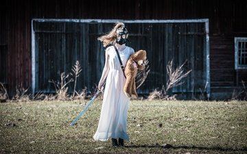 girl, sword, bear, gas mask, apocalypse