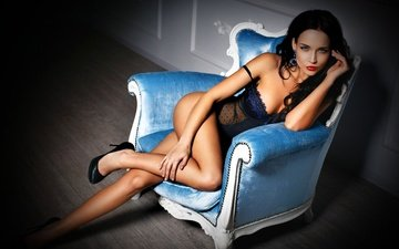 girl, model, legs, posing, underwear, in lingerie, photoshoot, sitting, angelina, angelina petrova, high heels, denis petrov