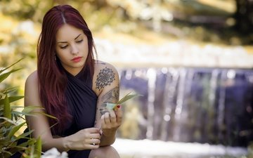 girl, model, tattoo, hair, bokeh, miriam de pablos