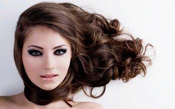 девушка, взгляд, модель, волосы, лицо, макияж