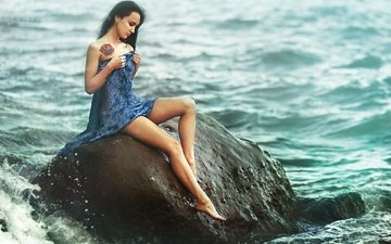 water, girl, sea, dress, pose, brunette, stone
