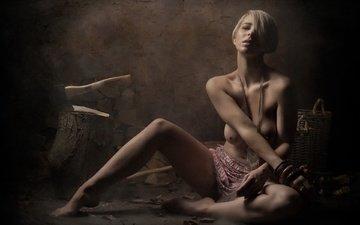 girl, background, pose, blonde, model, chest, naked