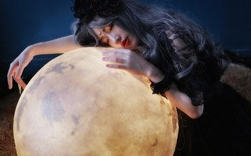 girl, mood, planet, ball, hair, face, asian, closed eyes