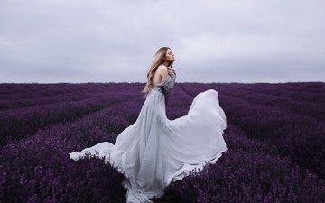 девушка, настроение, платье, поле, лаванда