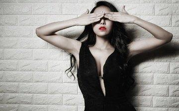 girl, mood, dress, wall, hands, neckline