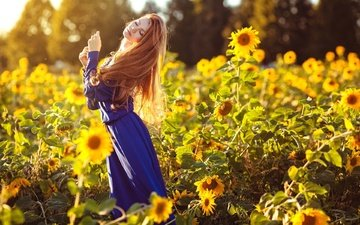 girl, mood, dress, summer, sunflowers, closed eyes, maria lazareva