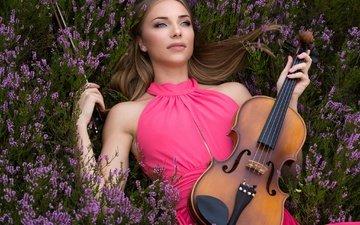 цветы, девушка, настроение, скрипка, взгляд, вереск