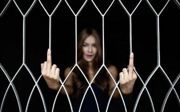 girl, the fence, black background, face, grille, fingers, gesture, polod