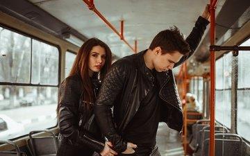 girl, guy, tram, konobevtsev egor, konabevtsev egor