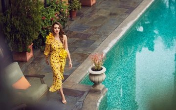 girl, dress, model, pool, walk, actress, jessica alba