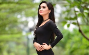 girl, dress, model, hair, black dress, umi kalsum