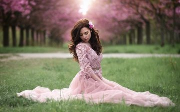 grass, girl, park, dress, pose, sitting, alley, bokeh, pink dress
