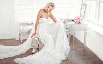 девушка, платье, свадьба, праздник, невеста, фата, свадебное платье, букет невесты