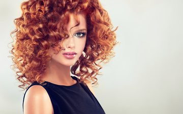 girl, dress, look, red, curls, face, makeup