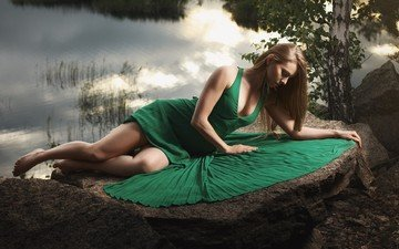 river, girl, dress, pose, blonde, model, stone, feet, photoshoot, green dress