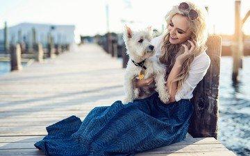 girl, blonde, smile, beach, glasses, pierce, dog, photoshoot, bichon frise, marina
