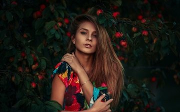 girl, dress, portrait, apples, model, face, photoshoot, long-haired, vika, viktoria manko, dmitry butvilovsky