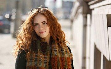 girl, portrait, glasses, freckles, redhead, the beauty, erika postnikova