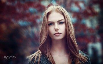 girl, portrait, model, hair, face, blue eyes, photoshoot, long hair, redhead