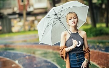 girl, portrait, look, hair, umbrella, face, asian