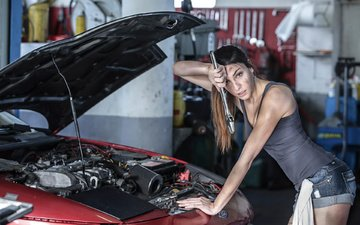 girl, pose, auto, workshop, repair, garage, shorts, mechanic, ford