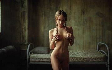girl, pose, blonde, model, chest, legs, figure, sexy, tummy
