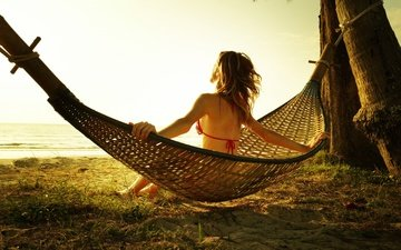 shore, girl, sea, pose, stay, hammock, bikini