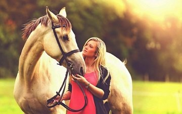 horse, girl, pose, blonde, look, face