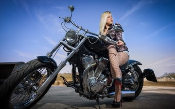 girl, pose, blonde, look, legs, hair, motorcycle, heels