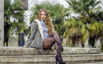 girl, pose, tights, model, legs, shirt, coat, alejandra delgado