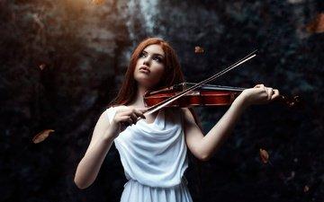 девушка, поза, скрипка, музыка, белое платье, фотосессия, музыкальный инструмент, скрипачка, алессандро ди чикко