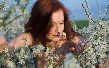 flowers, flowering, girl, pose, branches, spring, hair